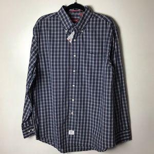 Izod blue plaid l/s button down shirt. Large